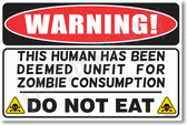 Warning To Zombies Poster Print Gift