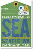 SEA - Seattle Airport Tag - Travel Poster Print Gift