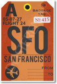 SFO - San Fransisco Airport Tag - Poster Print Gift