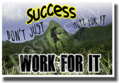 Mountain Climber - Success - Don't Just Hope For It - Work For It - New Classroom Motivational PosterEnvy Poster