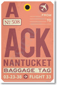 ACK - Nantucket Airport Tag - NEW World Travel Poster