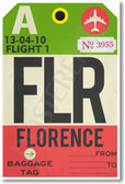 FLR - Florence - Airport Tag - NEW World Travel Poster