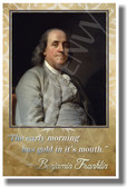The Early Morning - Ben Franklin - Famous Person Quote Poster Print Gift