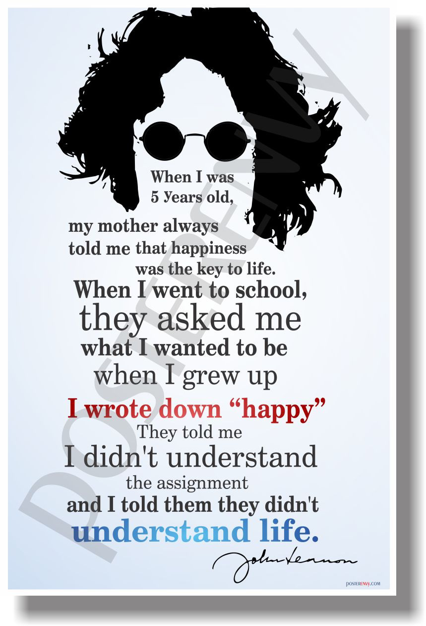 John Lennon Happiness Quote Poster i Wrote Down Happy 2 John
