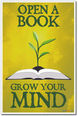 Open A Book Grow Your Mind - NEW Classroom Motivational Reading Poster (cm1023)