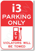 i3 Parking Only (red) - NEW Electric Vehicle EV Poster (hu282) BMW PosterEnvy novelty auto car gift
