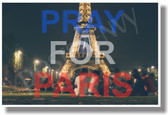 Pray for Paris France French Terror Terrorism City of Lights Eiffel Tower NEW World Travel Poster (tr581)