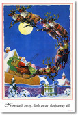 Santa Claus - Jolly St. Nick Sleigh Reindeer -Twas the Night Before Christmas - Vintage Holiday Poster