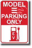 Tesla Model 3 Parking (Red) NEW Electric Vehicle Humor POSTER (hu401) elon musk EV auto cars