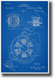 Telsa AC Motor Patent New Blueprint Technology Poster (ms307) electricity inventor invention genius vintage engineering elon musk