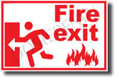 Fire Exit Left - NEW Laboratory or Classroom Fire Safety Poster (ms315) PosterEnvy