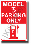 Tesla Model 3 Parking (Red) - NEW Electric Vehicle Humor Car POSTER