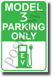 Tesla Model 3 Parking (Green) - NEW Electric Vehicle Humor Elon Musk POSTER (hu422)
