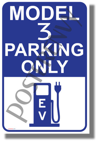 Tesla Model 3 Parking (Blue) - NEW Electric Vehicle Humor Elon Musk POSTER (hu423)