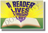 A Reader Lives A Thousand Lives - NEW Classroom Motivational Poster (cm1268)