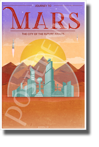 Journey to Mars - NEW Humor Novelty Vintage Style POSTER