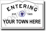 CUSTOM MA Town Sign - NEW World Travel Massachusetts - Poster (tr608)
