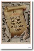 1946 Resolution - Buy US Savings Bonds - Vintage WW2 Reproduction Poster