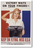Victory Waits On Your Fingers - Vintage WW2 Reproduction Poster