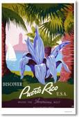Discover Puerto Rico U.S.A. - NEW Vintage Retro Poster