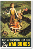 Don't Let That Shadow Touch Them Buy War Bonds New Vintage U.S. WWII Art Poster German Nazi Swastika Shadow PosterEnvy (vi008)