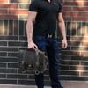 "15"" Large Sierra BuckHorn Laptop Bag in Distressed Tan Oil Tanned Leather"