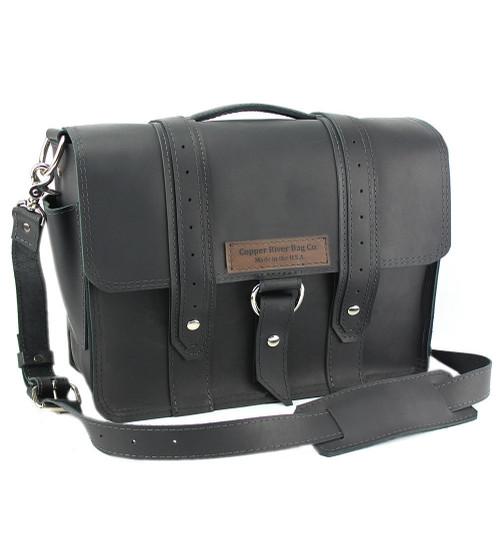 "14"" Newtown  Voyager Medium Laptop Bag in Black Leather"