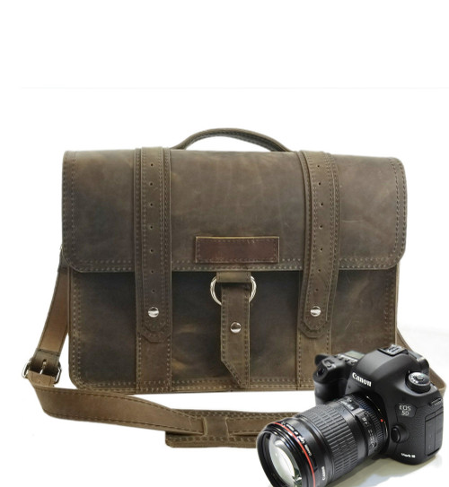 """15"""" Large Sonoma Voyager  Camera Bag  in Distressed Tan Oil Tanned Leather"""