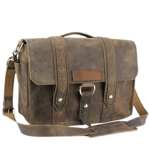 """14"""" Medium Rockport Voyager Briefcase in Distressed Tan Leather"""