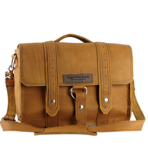 """15"""" Large Belmar  Voyager Briefcase in Tan Grizzly Leather"""