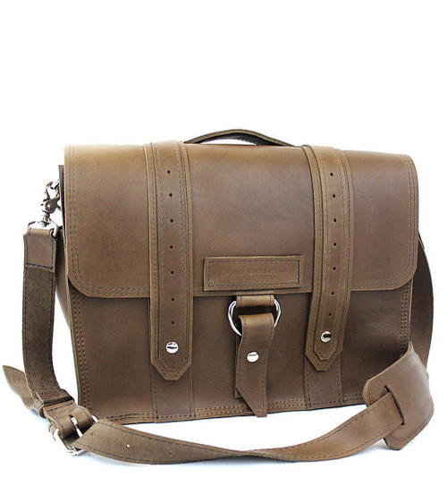 """15"""" Large  Belmar Voyager Briefcase in Brown Oil Tanned Leather"""