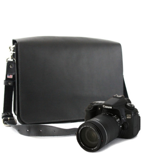 "Large 15"" Black Mission Sonoma Camera Bag Made in the U.S.A. - Black - 15-MIS-BL-EXL-LCAM"