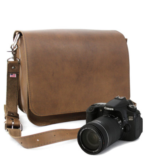 "Large 15"" Brown Mission Sonoma Camera Bag Made in the U.S.A. - Brown - 15-MIS-BR-OIL-LCAM"