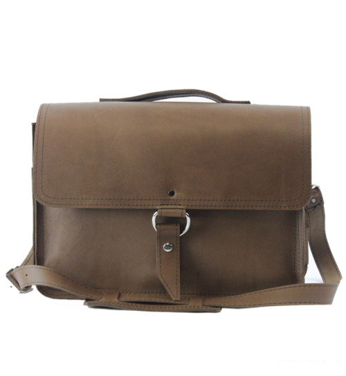 """15"""" Large Sierra Midtown Large Laptop Bag in Brown Oil Tanned Leather"""