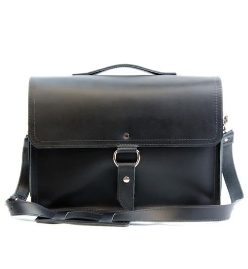 "14"" Medium Rockport Midtown Briefcase in Black Napa Excel Leather"
