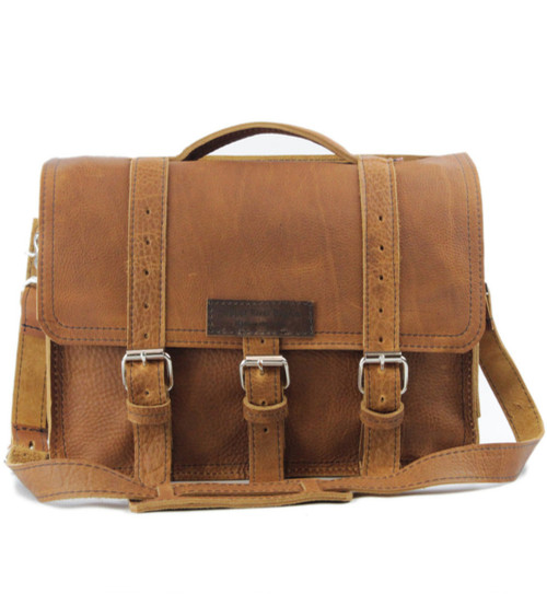 "15"" Large BuckHorn Briefcase in Tan Grizzly Leather"
