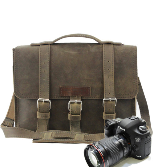"""15"""" Large Sonoma BuckHorn Camera Bag in Distressed Tan Oil Tanned Leather"""