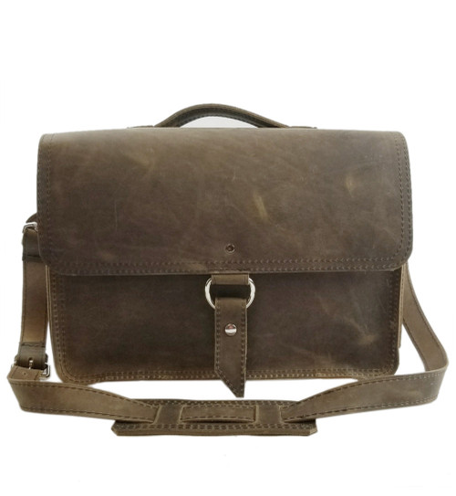 "14"" Medium Newtown Midtown Laptop Bag in Distressed Tan Oil Tanned Leather"