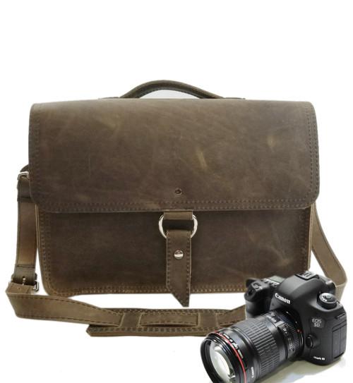 """14"""" Medium Midtown Newport Camera Bag in Distressed Tan Leather"""