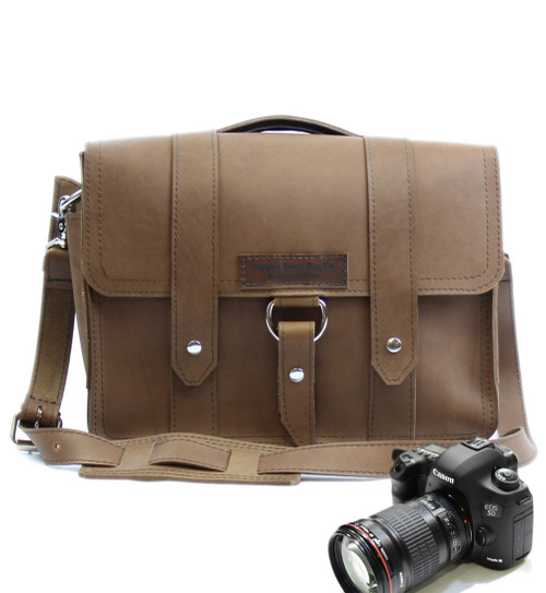 "14""  Newport Journeyman Medium Camera Bag in Brown Leather"