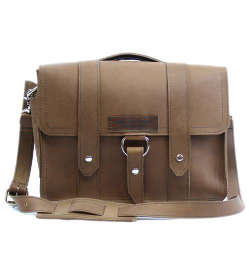 """14"""" Newtown Journeyman Medium Briefcase in Brown Leather"""