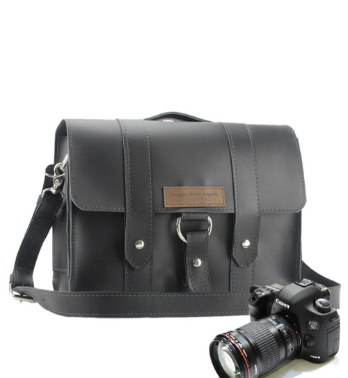 "14"" Newport  Journeyman Camera Bag in Black Leather"