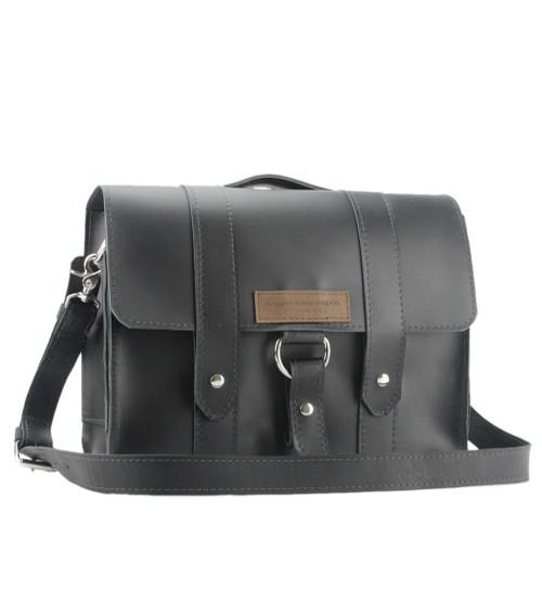 "15"" Large Black Belmar Journeyman Leather Briefcase in Black Leather"