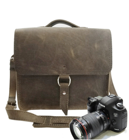 "10"" Small Napa Midtown Camera Bag in Distressed Tan Oil Tanned Leather"