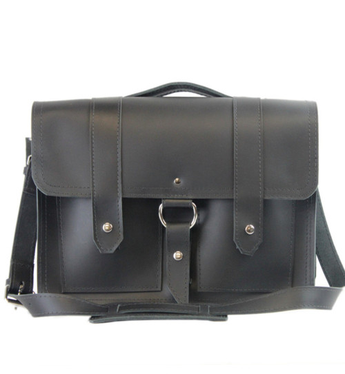 "15"" Large Hemingway Briefcase in Black Napa Excel Leather"