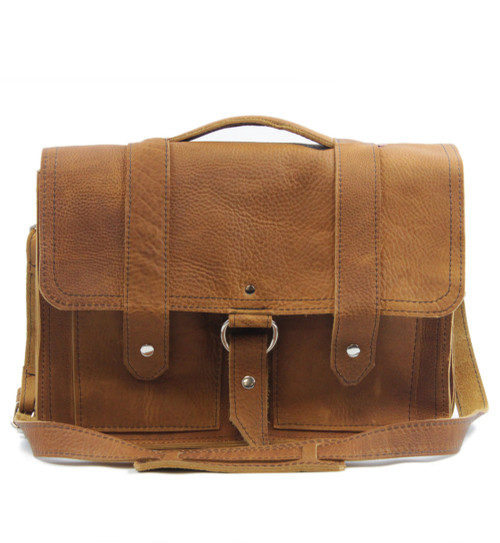 """15"""" Large Hemingway Briefcase in Grizzly Tan Leather"""