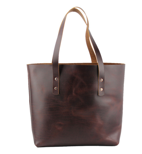 Lexington Leather Tote in Coffee Brown Color Made in the U.S.A. - 15-LEX-TOT-COF-EXL