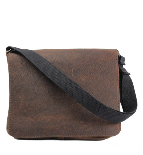 "The Original 14"" Chocolate Grizzly Messenger Bag Made in the U.S.A. - 14-MES-CGZ-LAP"
