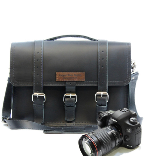 "14"" Medium Sonoma BuckHorn Camera Bag in Black Napa Excel Leather"