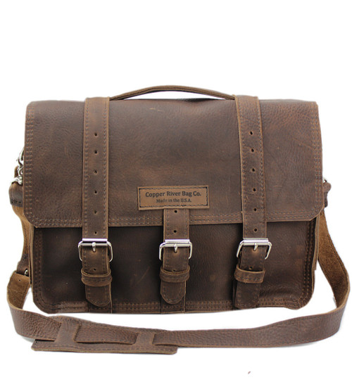 "15"" Large BuckHorn Leather Laptop Bag in Chocolate Grizzly leather"
